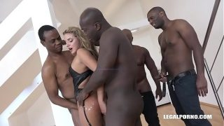 Bitch Sofi Goldfinger deals with four Black Monster Cocks with a Smile