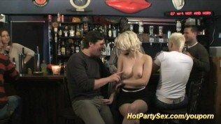 Blonde gets cum in gangbang