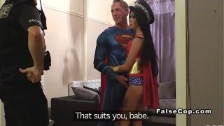 Fake cop has threesome woth costumed couple