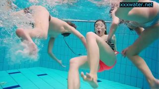 Hot tight pussie girls undress in the pool