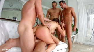 Huge titted slut gets double penetration and sucks the sperm out of